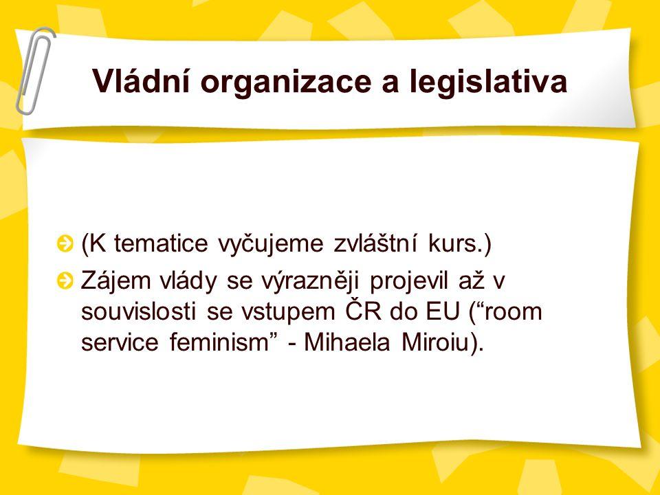 Vládní organizace a legislativa (K tematice vyčujeme zvláštní kurs.) Zájem vlády se výrazněji projevil až v souvislosti se vstupem ČR do EU ( room service feminism - Mihaela Miroiu).