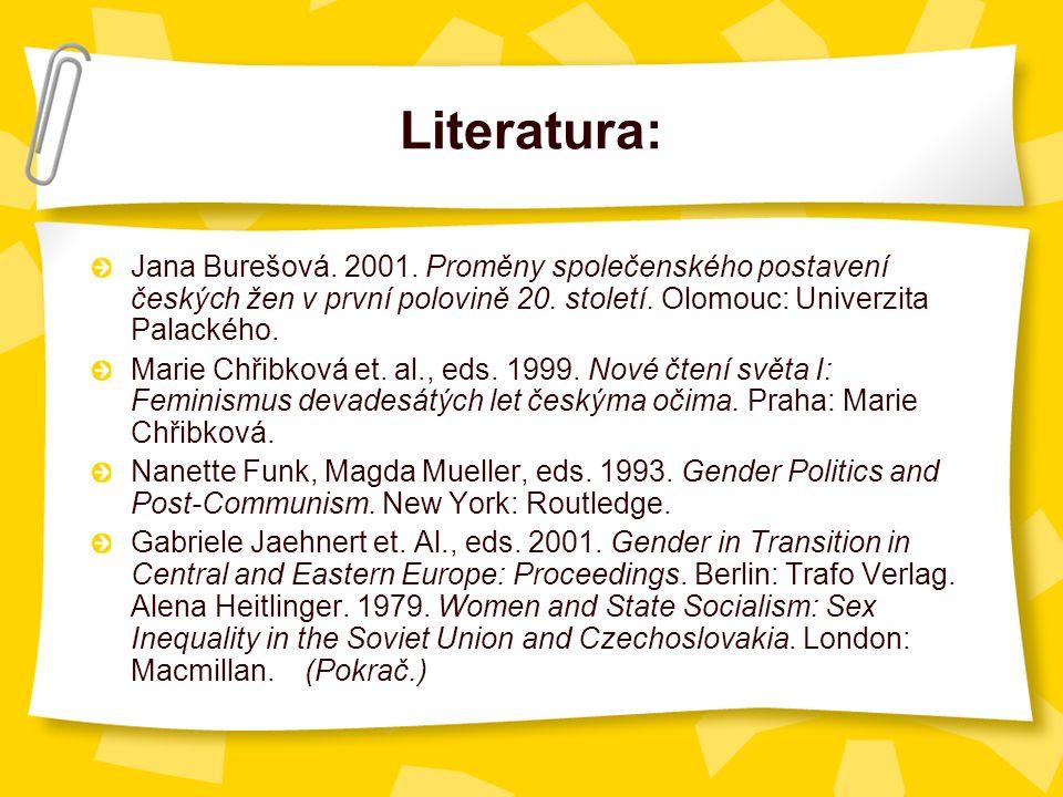 Literatura: Jana Burešová. 2001. Proměny společenského postavení českých žen v první polovině 20.
