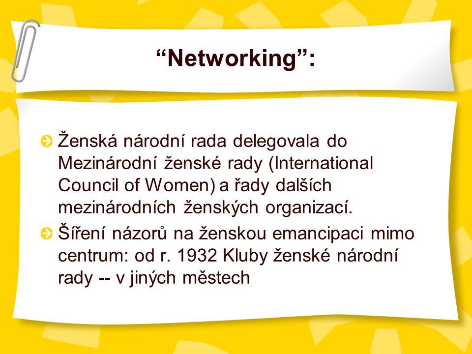 Networking : Ženská národní rada delegovala do Mezinárodní ženské rady (International Council of Women) a řady dalších mezinárodních ženských organizací.
