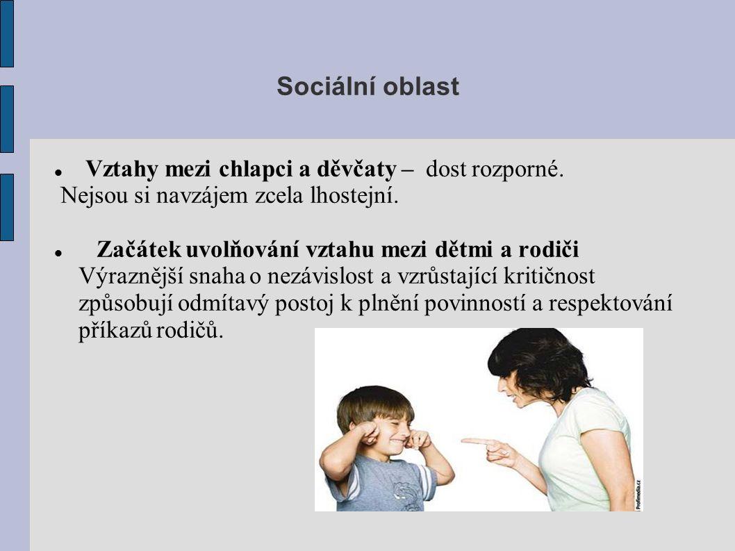 Sociální oblast Vztahy mezi chlapci a děvčaty – dost rozporné.