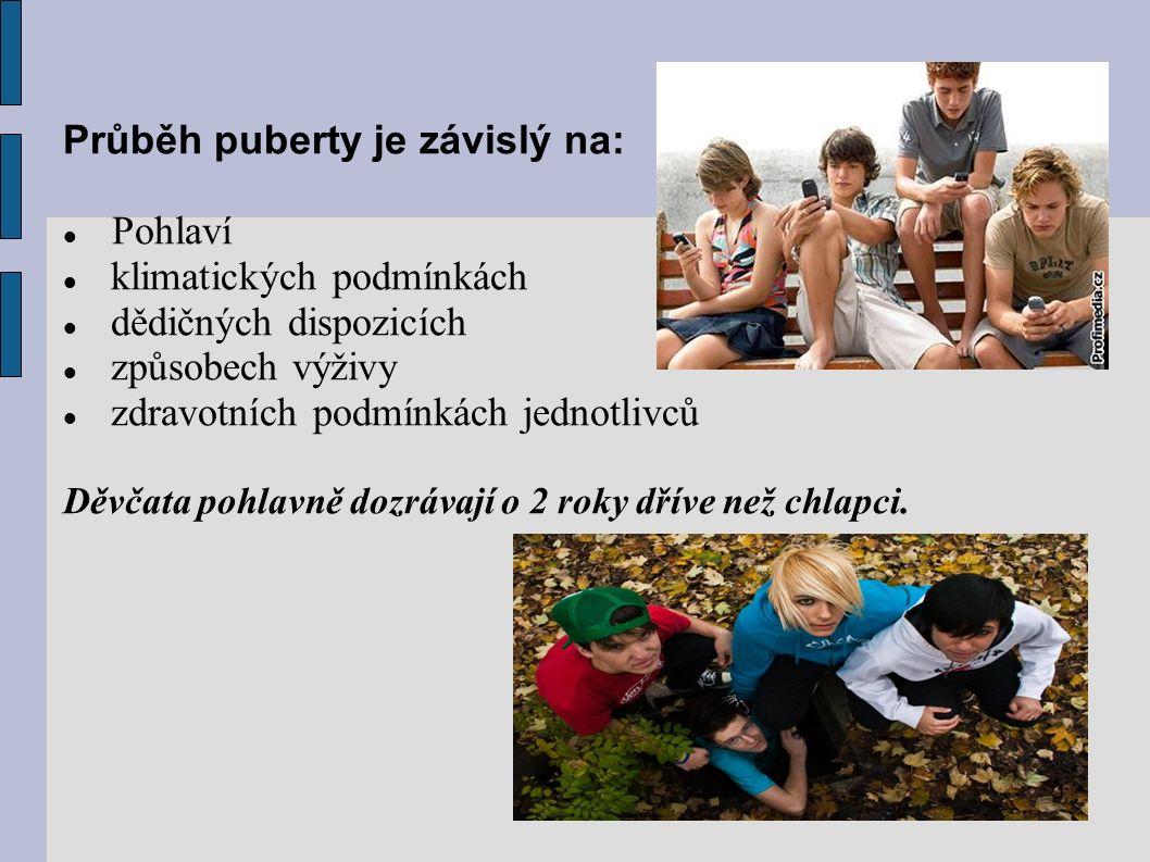 Průběh puberty je závislý na: Pohlaví klimatických podmínkách dědičných dispozicích způsobech výživy zdravotních podmínkách jednotlivců Děvčata pohlavně dozrávají o 2 roky dříve než chlapci.