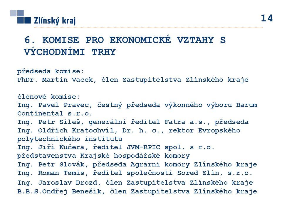 předseda komise: PhDr. Martin Vacek, člen Zastupitelstva Zlínského kraje členové komise: Ing.