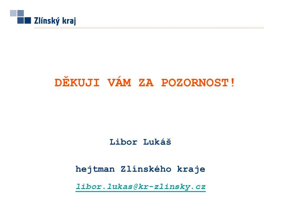 Libor Lukáš hejtman Zlínského kraje libor.lukas@kr-zlinsky.cz DĚKUJI VÁM ZA POZORNOST!