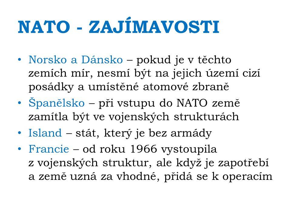 NATO - ZAJÍMAVOSTI Norsko a Dánsko – pokud je v těchto zemích mír, nesmí být na jejich území cizí posádky a umístěné atomové zbraně Španělsko – při vstupu do NATO země zamítla být ve vojenských strukturách Island – stát, který je bez armády Francie – od roku 1966 vystoupila z vojenských struktur, ale když je zapotřebí a země uzná za vhodné, přidá se k operacím