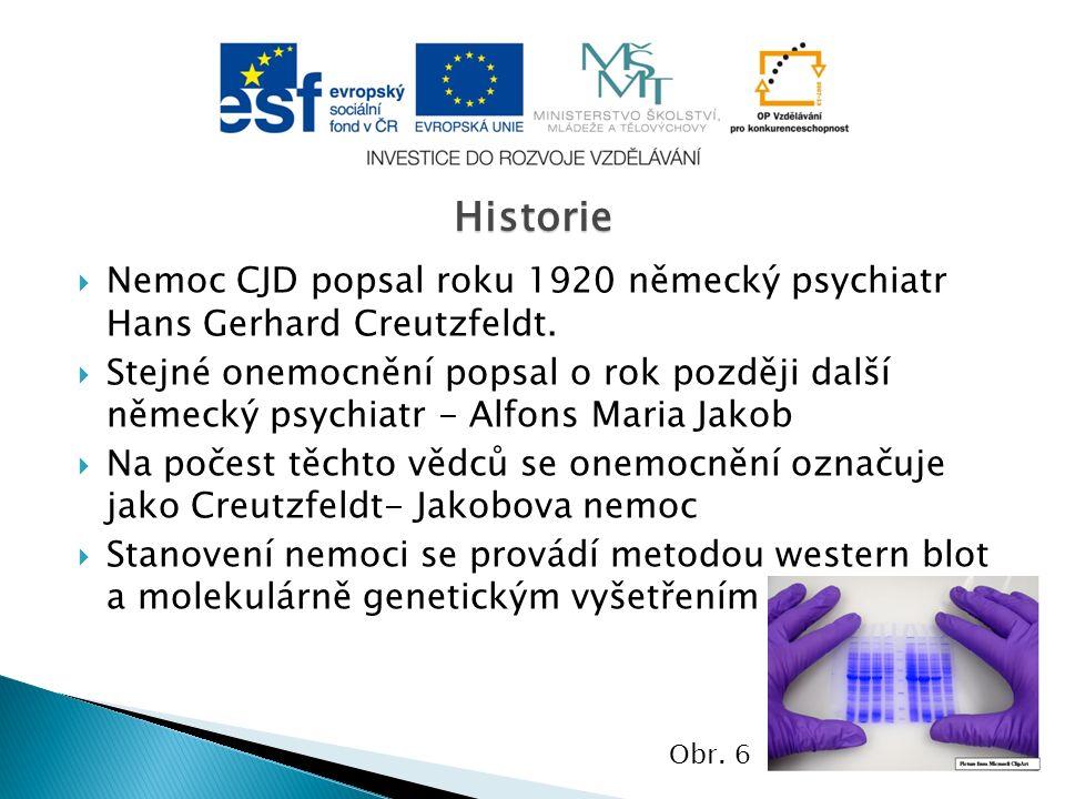  Nemoc CJD popsal roku 1920 německý psychiatr Hans Gerhard Creutzfeldt.