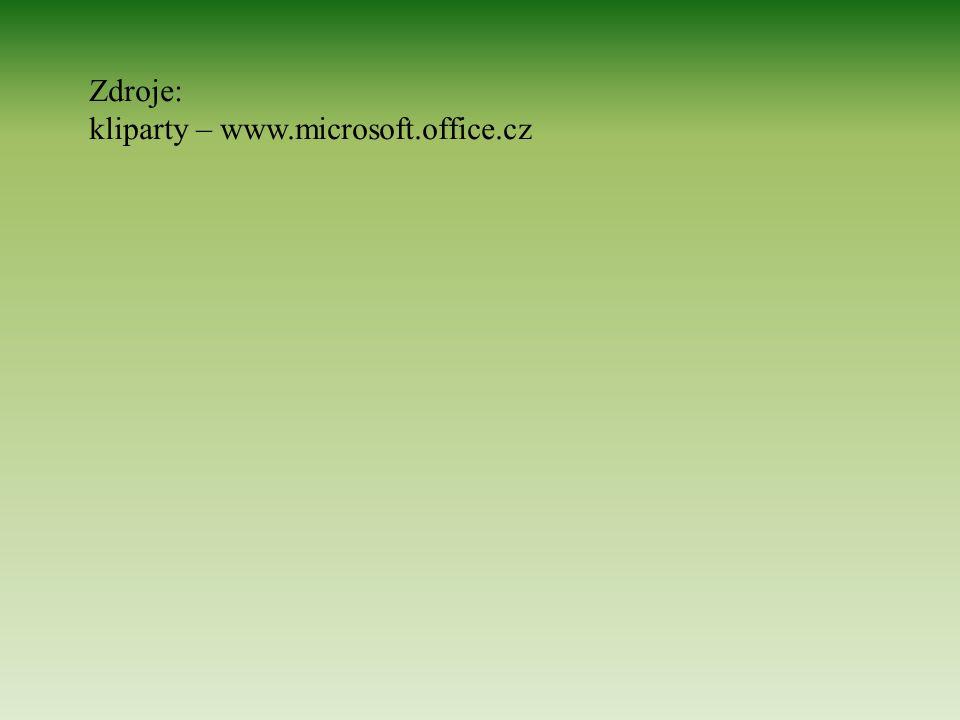 Zdroje: kliparty – www.microsoft.office.cz