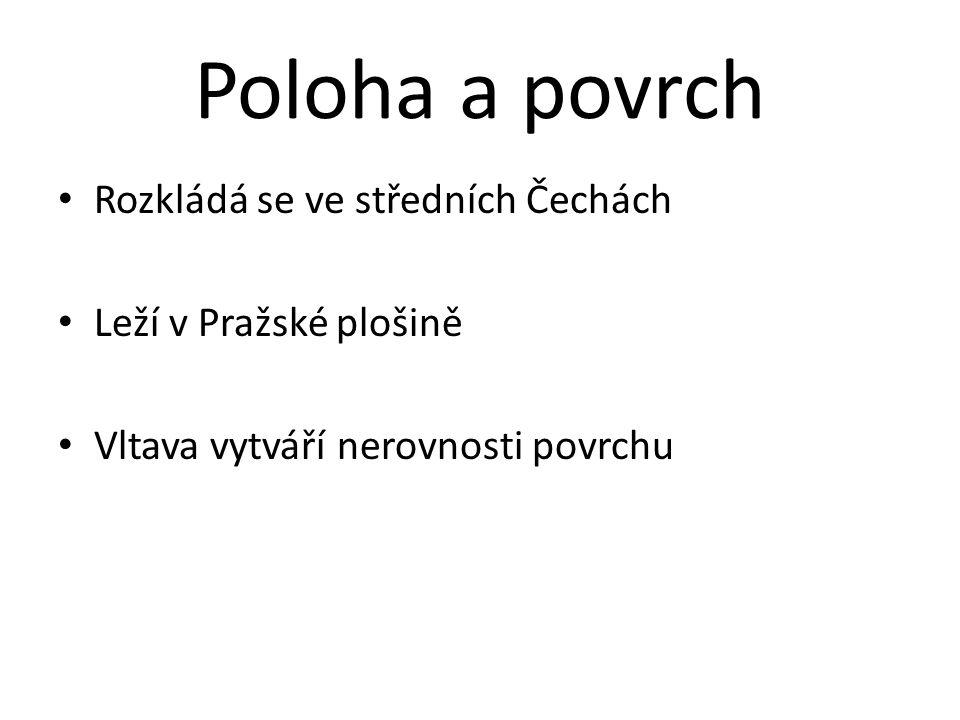 Poloha a povrch Rozkládá se ve středních Čechách Leží v Pražské plošině Vltava vytváří nerovnosti povrchu