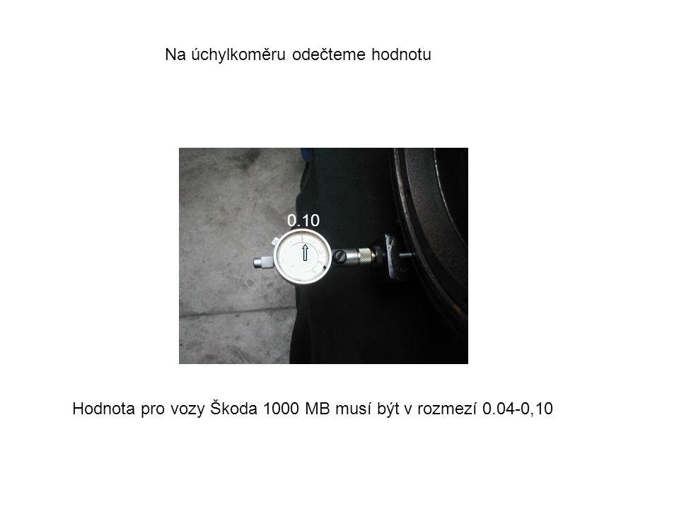 0.10 Na úchylkoměru odečteme hodnotu Hodnota pro vozy Škoda 1000 MB musí být v rozmezí 0.04-0,10