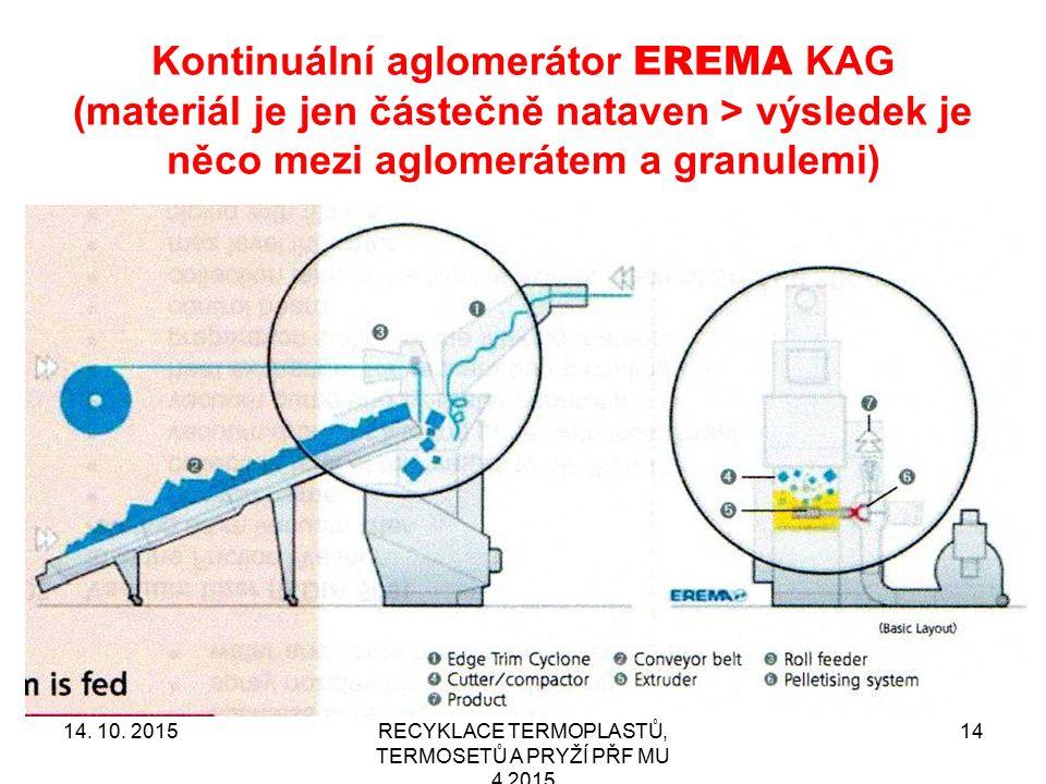 Kontinuální aglomerátor EREMA KAG (materiál je jen částečně nataven > výsledek je něco mezi aglomerátem a granulemi) RECYKLACE TERMOPLASTŮ, TERMOSETŮ