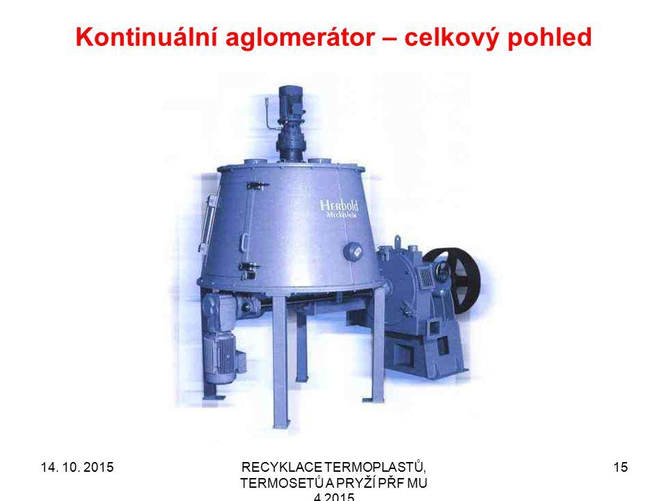 Kontinuální aglomerátor – celkový pohled RECYKLACE TERMOPLASTŮ, TERMOSETŮ A PRYŽÍ PŘF MU 4 2015 1514. 10. 2015