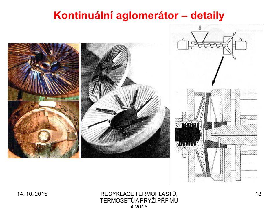 Kontinuální aglomerátor – detaily RECYKLACE TERMOPLASTŮ, TERMOSETŮ A PRYŽÍ PŘF MU 4 2015 1814. 10. 2015
