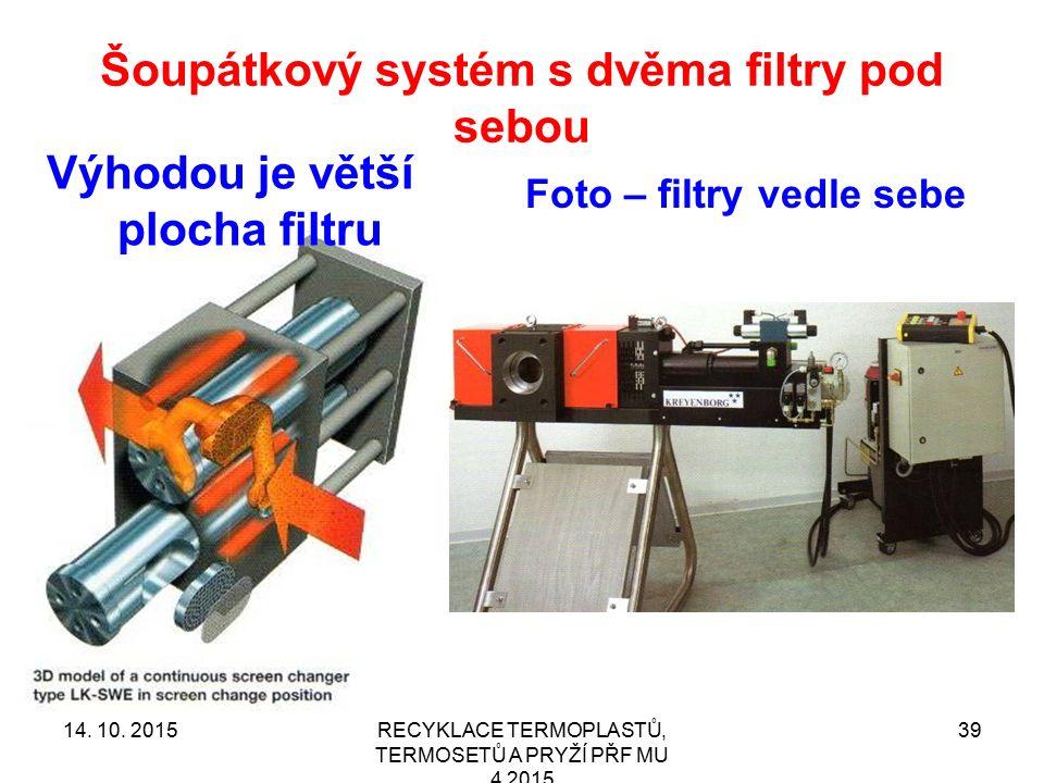 Šoupátkový systém s dvěma filtry pod sebou RECYKLACE TERMOPLASTŮ, TERMOSETŮ A PRYŽÍ PŘF MU 4 2015 39 Výhodou je větší plocha filtru Foto – filtry vedl
