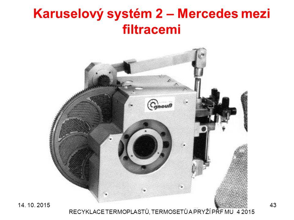Karuselový systém 2 – Mercedes mezi filtracemi RECYKLACE TERMOPLASTŮ, TERMOSETŮ A PRYŽÍ PŘF MU 4 2015 4314. 10. 2015