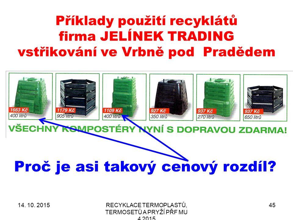 Příklady použití recyklátů firma JELÍNEK TRADING vstřikování ve Vrbně pod Pradědem 14. 10. 2015RECYKLACE TERMOPLASTŮ, TERMOSETŮ A PRYŽÍ PŘF MU 4 2015