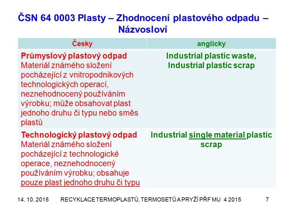 ČSN 64 0003 Plasty – Zhodnocení plastového odpadu – Názvosloví Českyanglicky Průmyslový plastový odpad Materiál známého složení pocházející z vnitropo
