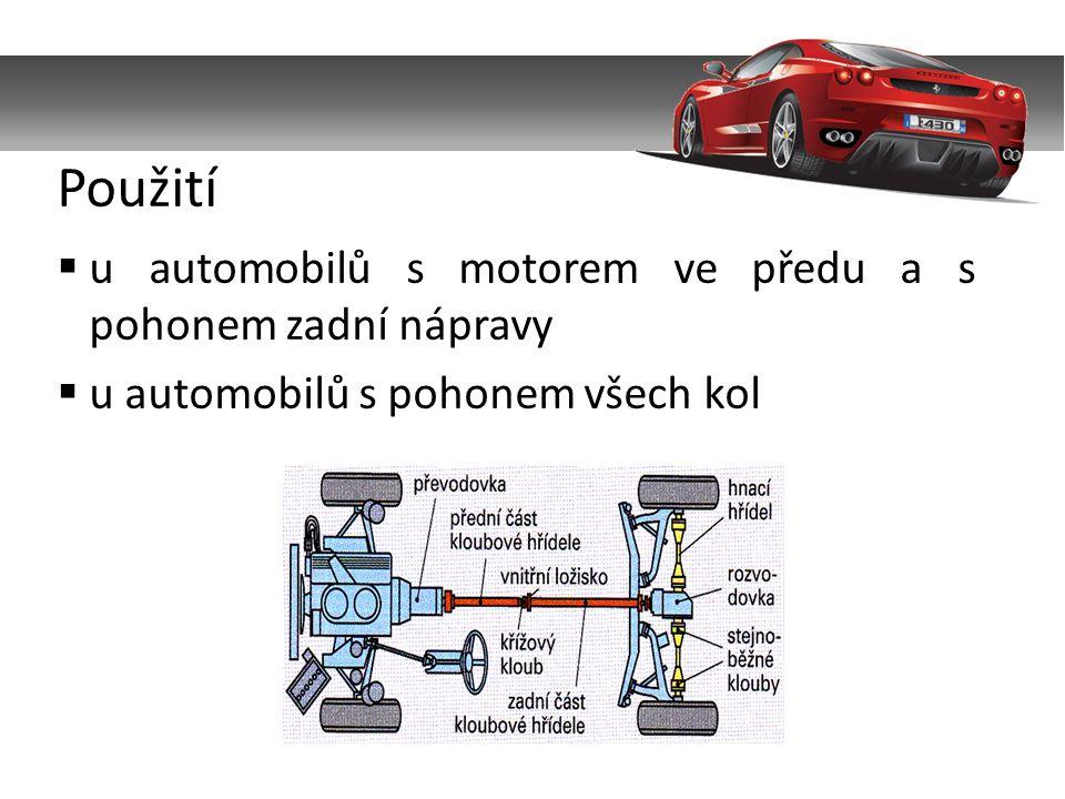  u automobilů s motorem ve předu a s pohonem zadní nápravy  u automobilů s pohonem všech kol Použití