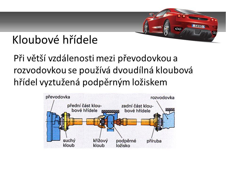 Při větší vzdálenosti mezi převodovkou a rozvodovkou se používá dvoudílná kloubová hřídel vyztužená podpěrným ložiskem Kloubové hřídele