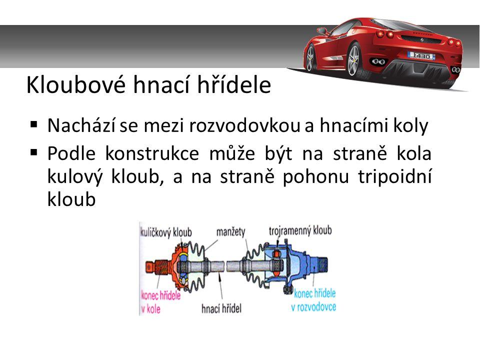  Nachází se mezi rozvodovkou a hnacími koly  Podle konstrukce může být na straně kola kulový kloub, a na straně pohonu tripoidní kloub Kloubové hnací hřídele