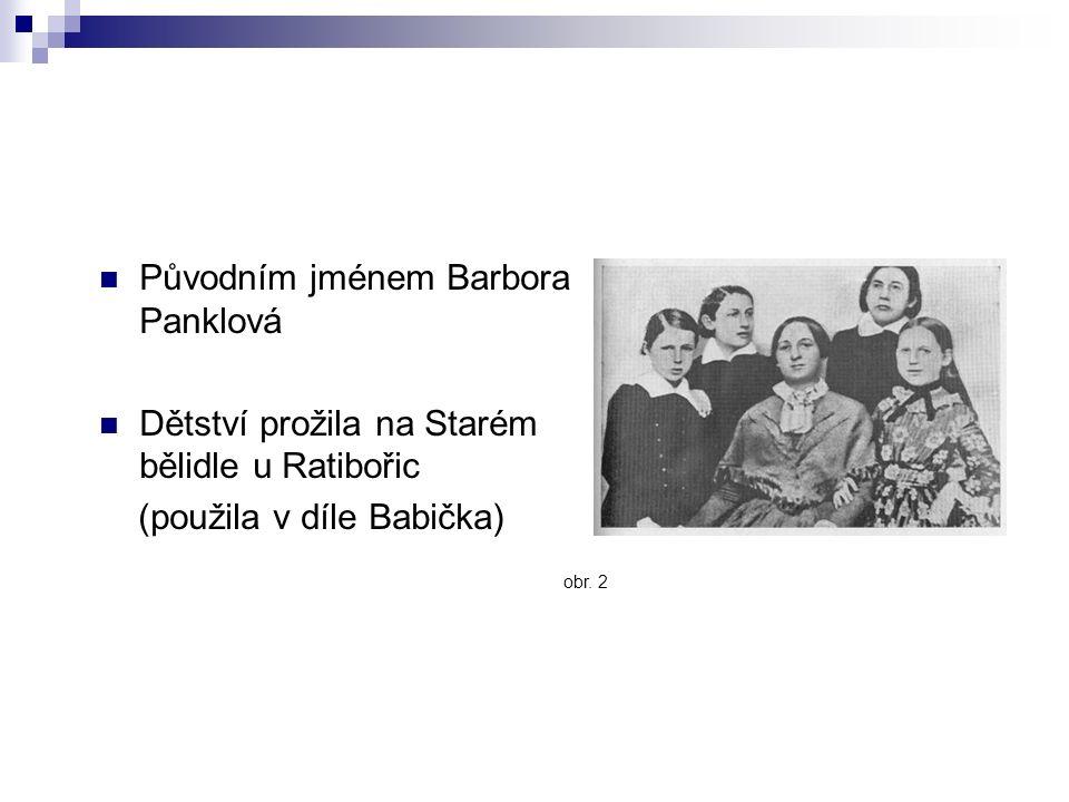 Původním jménem Barbora Panklová Dětství prožila na Starém bělidle u Ratibořic (použila v díle Babička) obr.