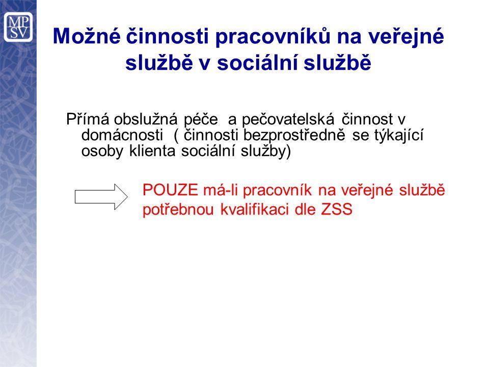 Možné činnosti pracovníků na veřejné službě v sociální službě Pokud nemá kvalifikaci dle ZSS jako pracovník v sociálních službách Práce s prádlem mimo domácnost klienta Pomoc pečovatelce s nákupy (bez vstupu do domácnosti) Pomoc při rozvozu obědů ( bez vstupu do domácnosti) Úklid společných prostor v DPS Úklid zázemí pečovatelské služby Ostatní potřebné úkony nedotýkající se přímo klienta a jeho domácnosti