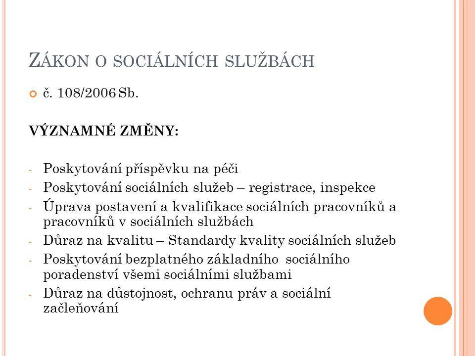 Z ÁKON O SOCIÁLNÍCH SLUŽBÁCH č. 108/2006 Sb. VÝZNAMNÉ ZMĚNY: - Poskytování příspěvku na péči - Poskytování sociálních služeb – registrace, inspekce -