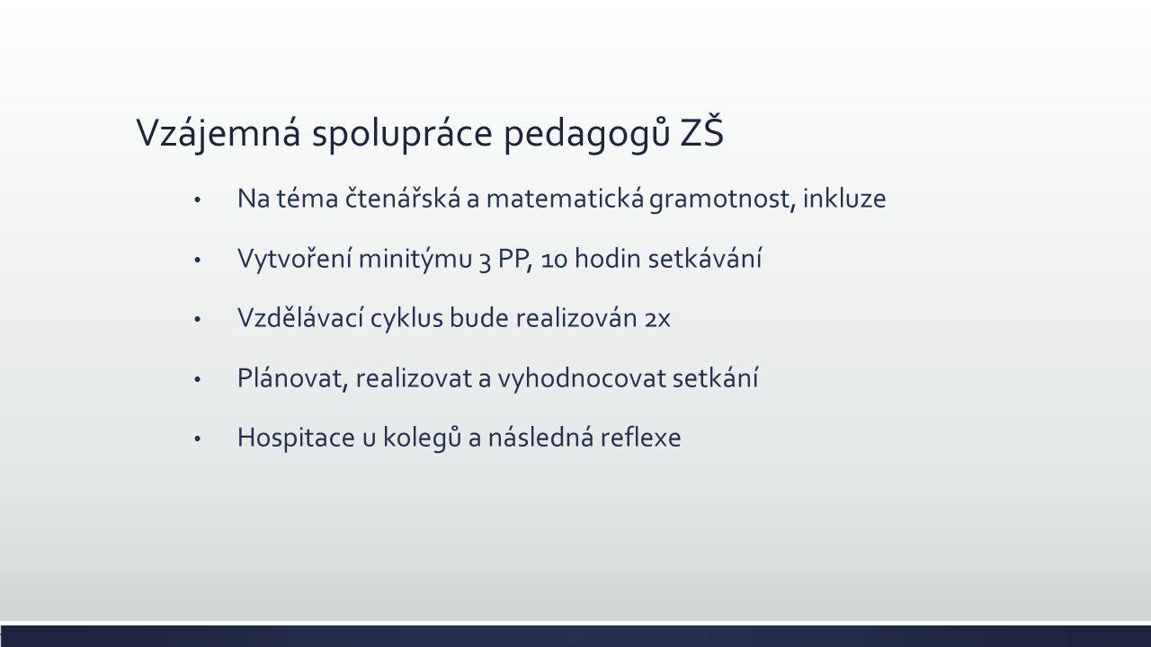 Vzájemná spolupráce pedagogů ZŠ Na téma čtenářská a matematická gramotnost, inkluze Vytvoření minitýmu 3 PP, 10 hodin setkávání Vzdělávací cyklus bude