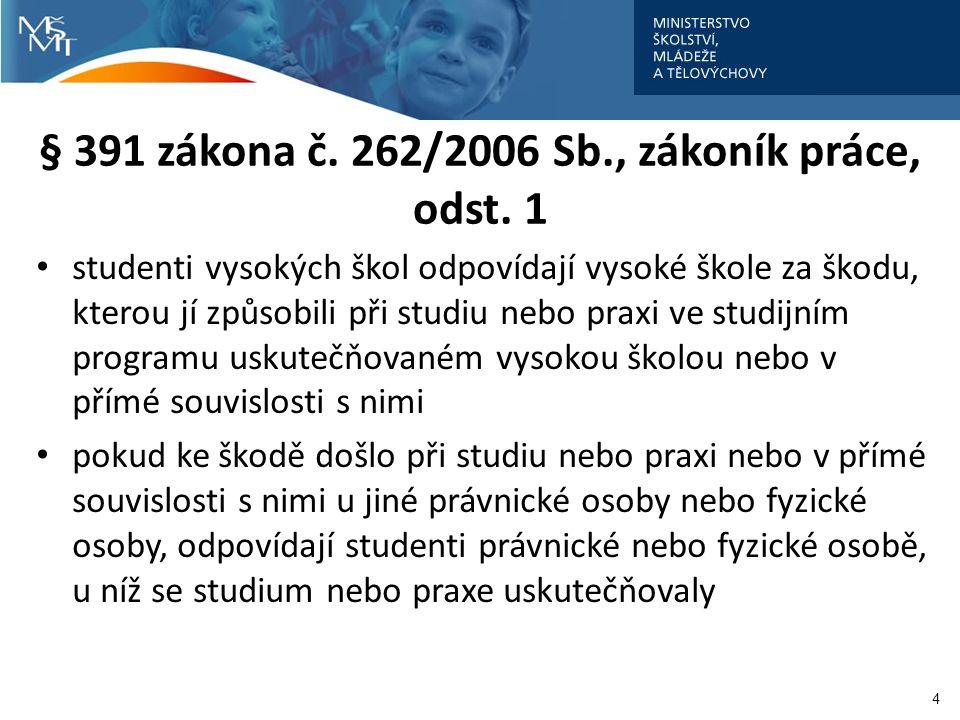 § 391 zákona č. 262/2006 Sb., zákoník práce, odst. 1 studenti vysokých škol odpovídají vysoké škole za škodu, kterou jí způsobili při studiu nebo prax