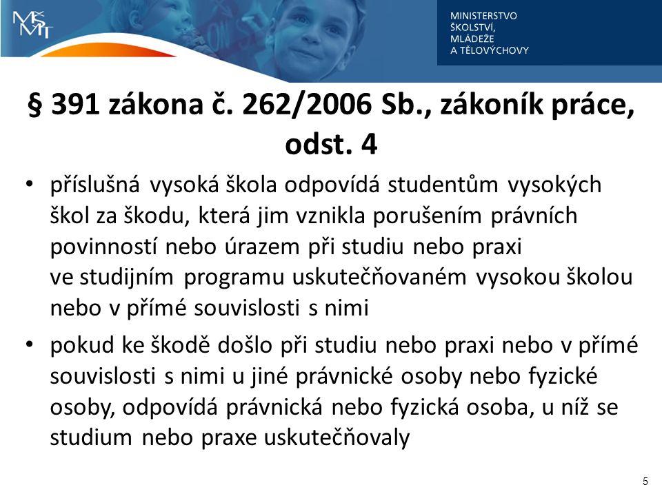 § 391 zákona č. 262/2006 Sb., zákoník práce, odst. 4 příslušná vysoká škola odpovídá studentům vysokých škol za škodu, která jim vznikla porušením prá