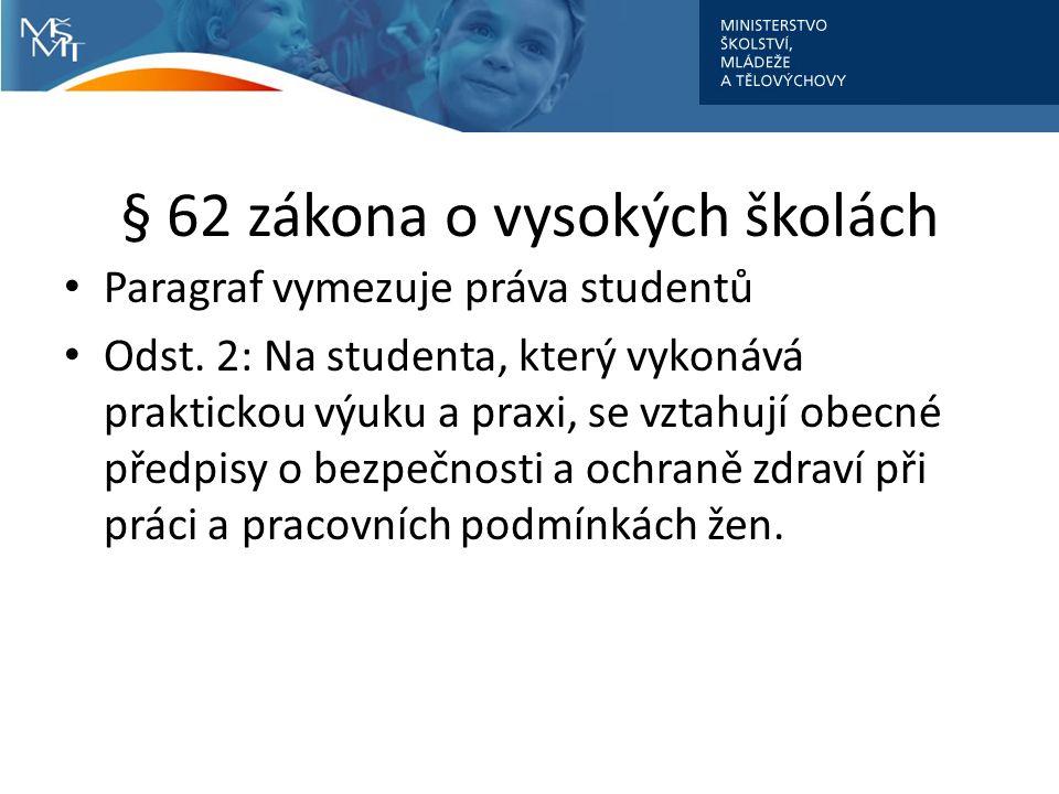 § 62 zákona o vysokých školách Paragraf vymezuje práva studentů Odst. 2: Na studenta, který vykonává praktickou výuku a praxi, se vztahují obecné před