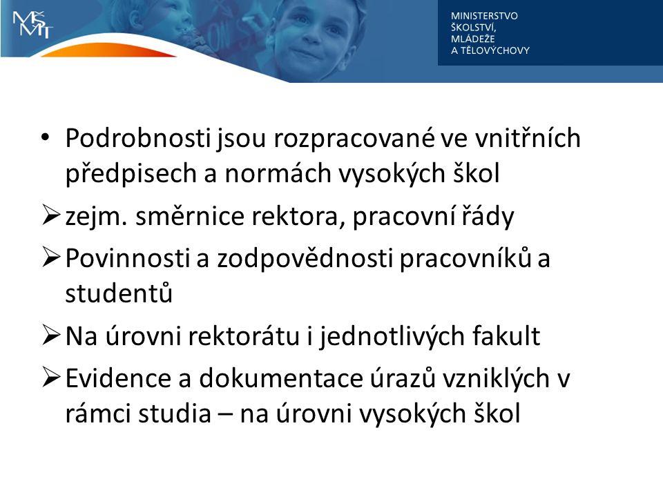 Podrobnosti jsou rozpracované ve vnitřních předpisech a normách vysokých škol  zejm. směrnice rektora, pracovní řády  Povinnosti a zodpovědnosti pra