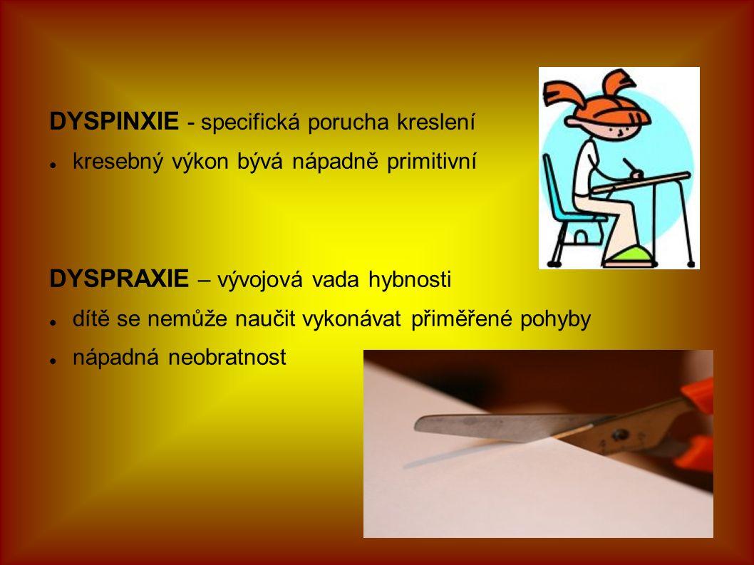 DYSPINXIE - specifická porucha kreslení kresebný výkon bývá nápadně primitivní DYSPRAXIE – vývojová vada hybnosti dítě se nemůže naučit vykonávat přiměřené pohyby nápadná neobratnost