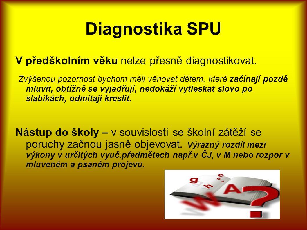 Diagnostika SPU V předškolním věku nelze přesně diagnostikovat. Zvýšenou pozornost bychom měli věnovat dětem, které začínají pozdě mluvit, obtížně se