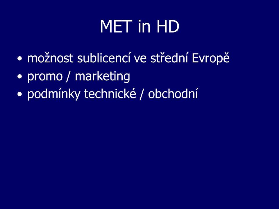 MET in HD možnost sublicencí ve střední Evropě promo / marketing podmínky technické / obchodní