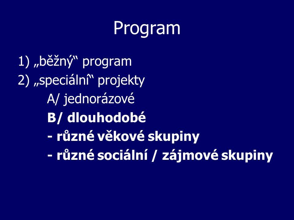 """Program 1) """"běžný program 2) """"speciální projekty A/ jednorázové B/ dlouhodobé - různé věkové skupiny - různé sociální / zájmové skupiny"""