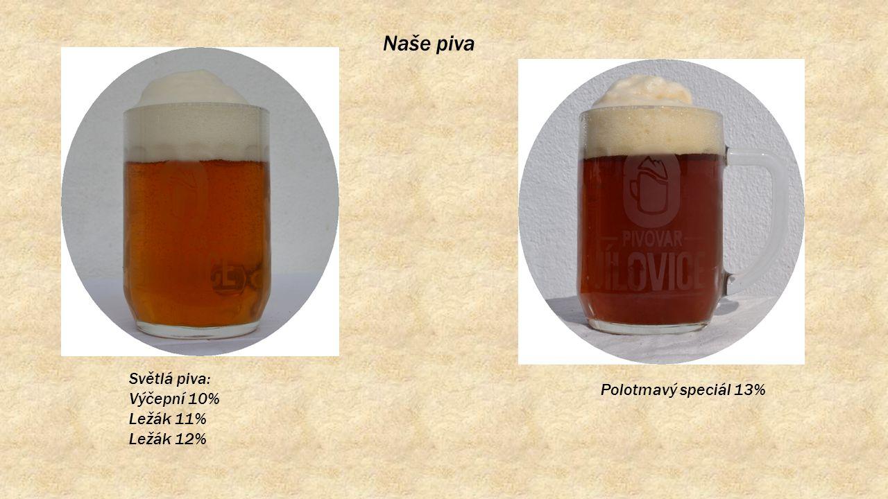 Naše piva Světlá piva: Výčepní 10% Ležák 11% Ležák 12% Polotmavý speciál 13%