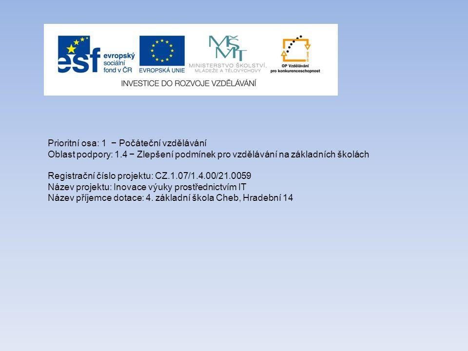 Prioritní osa: 1 − Počáteční vzdělávání Oblast podpory: 1.4 − Zlepšení podmínek pro vzdělávání na základních školách Registrační číslo projektu: CZ.1.