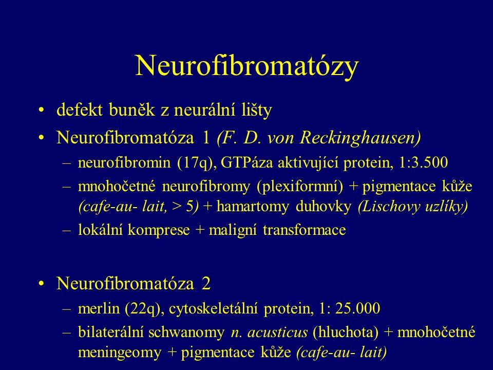 Neurofibromatózy defekt buněk z neurální lišty Neurofibromatóza 1 (F.