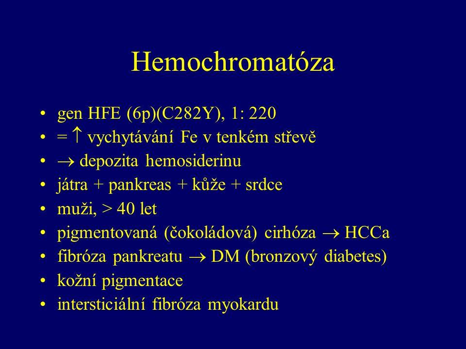 Hemochromatóza gen HFE (6p)(C282Y), 1: 220 =  vychytávání Fe v tenkém střevě  depozita hemosiderinu játra + pankreas + kůže + srdce muži, > 40 let pigmentovaná (čokoládová) cirhóza  HCCa fibróza pankreatu  DM (bronzový diabetes) kožní pigmentace intersticiální fibróza myokardu