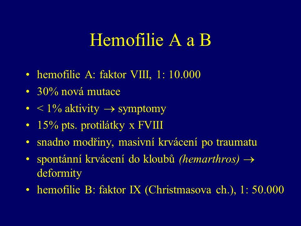 Hemofilie A a B hemofilie A: faktor VIII, 1: 10.000 30% nová mutace < 1% aktivity  symptomy 15% pts.