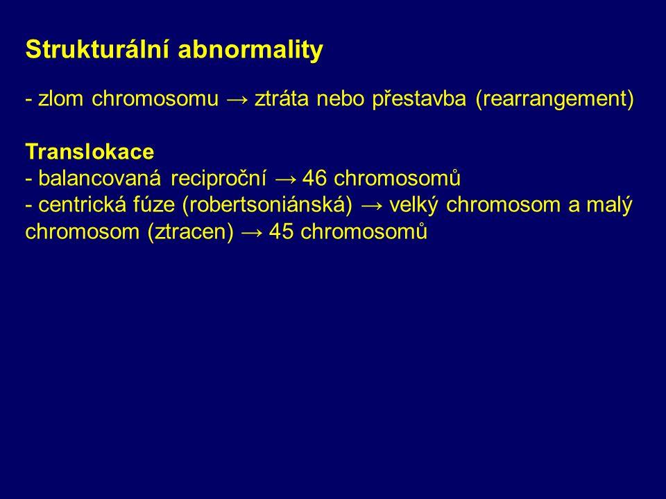 Strukturální abnormality - zlom chromosomu → ztráta nebo přestavba (rearrangement) Translokace - balancovaná reciproční → 46 chromosomů - centrická fúze (robertsoniánská) → velký chromosom a malý chromosom (ztracen) → 45 chromosomů