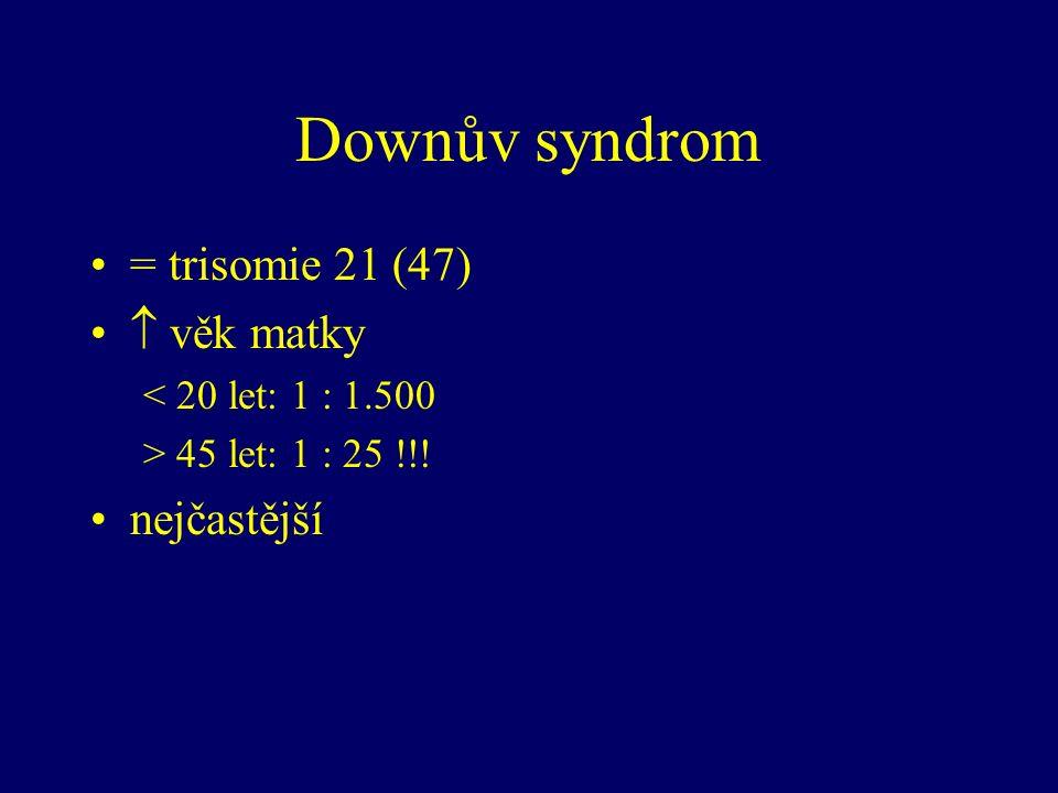 Downův syndrom = trisomie 21 (47)  věk matky < 20 let: 1 : 1.500 > 45 let: 1 : 25 !!! nejčastější