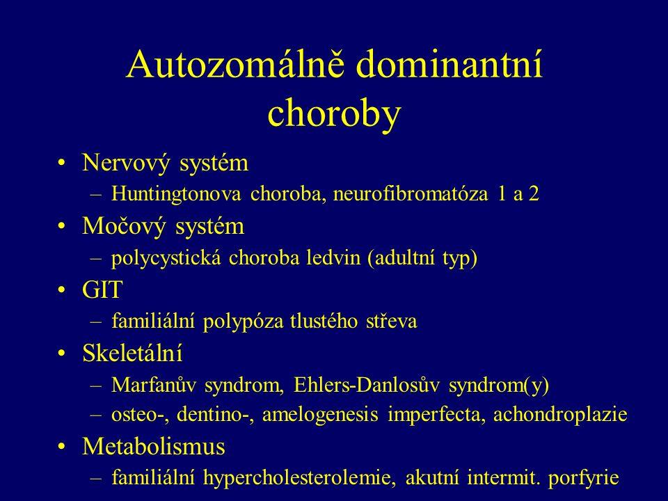 Autozomálně dominantní choroby Nervový systém –Huntingtonova choroba, neurofibromatóza 1 a 2 Močový systém –polycystická choroba ledvin (adultní typ) GIT –familiální polypóza tlustého střeva Skeletální –Marfanův syndrom, Ehlers-Danlosův syndrom(y) –osteo-, dentino-, amelogenesis imperfecta, achondroplazie Metabolismus –familiální hypercholesterolemie, akutní intermit.