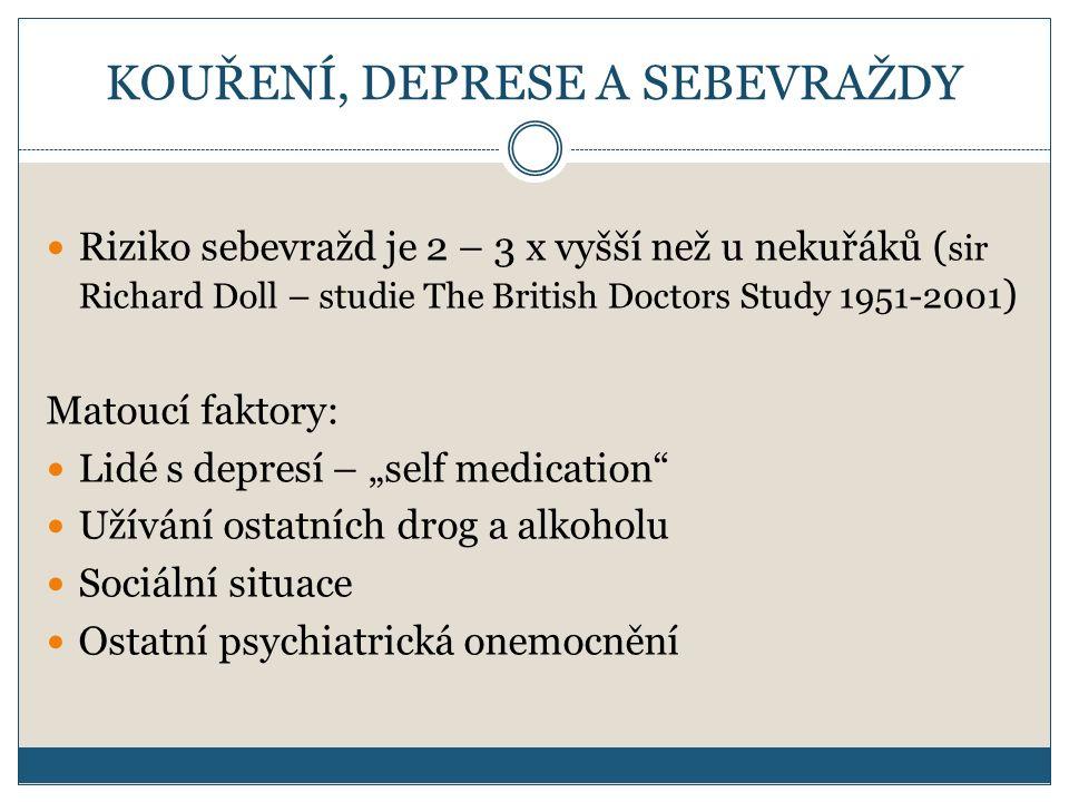 """KOUŘENÍ, DEPRESE A SEBEVRAŽDY Riziko sebevražd je 2 – 3 x vyšší než u nekuřáků ( sir Richard Doll – studie The British Doctors Study 1951-2001 ) Matoucí faktory: Lidé s depresí – """"self medication Užívání ostatních drog a alkoholu Sociální situace Ostatní psychiatrická onemocnění"""
