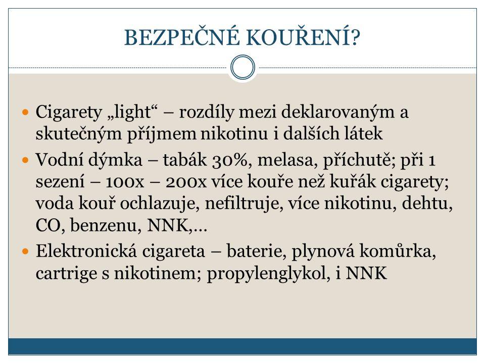 """BEZPEČNÉ KOUŘENÍ? Cigarety """"light"""" – rozdíly mezi deklarovaným a skutečným příjmem nikotinu i dalších látek Vodní dýmka – tabák 30%, melasa, příchutě;"""
