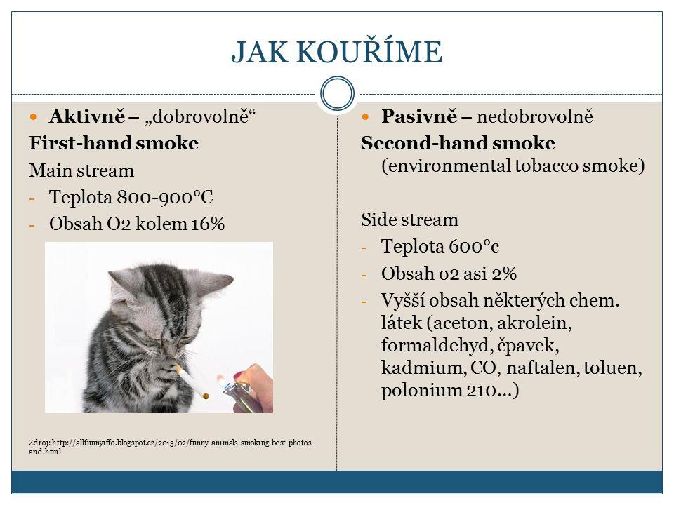 """JAK KOUŘÍME Aktivně – """"dobrovolně First-hand smoke Main stream - Teplota 800-900°C - Obsah O2 kolem 16% Zdroj: http://allfunnyiffo.blogspot.cz/2013/02/funny-animals-smoking-best-photos- and.html Pasivně – nedobrovolně Second-hand smoke (environmental tobacco smoke) Side stream - Teplota 600°c - Obsah o2 asi 2% - Vyšší obsah některých chem."""