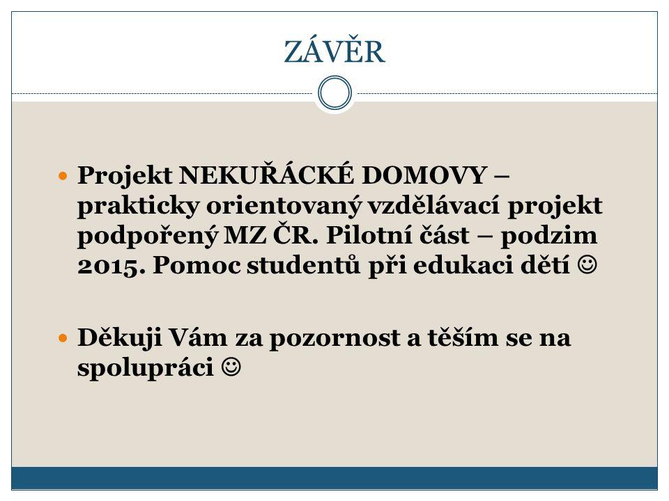 ZÁVĚR Projekt NEKUŘÁCKÉ DOMOVY – prakticky orientovaný vzdělávací projekt podpořený MZ ČR.