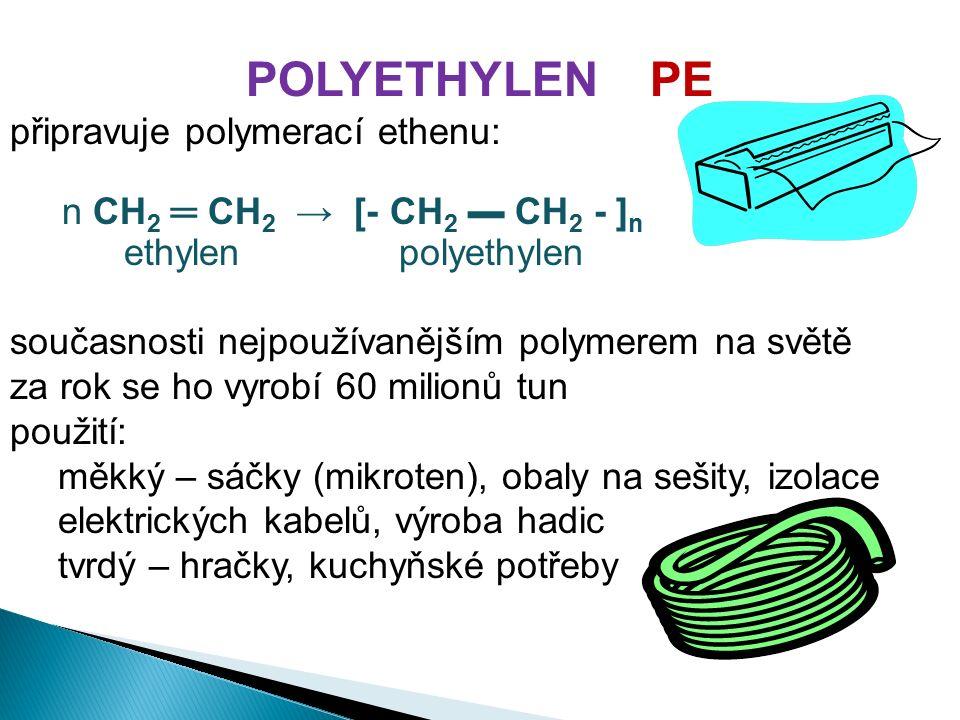 POLYETHYLEN PE připravuje polymerací ethenu: n CH 2 ═ CH 2 → [- CH 2 ▬ CH 2 - ] n ethylen polyethylen současnosti nejpoužívanějším polymerem na světě za rok se ho vyrobí 60 milionů tun použití: měkký – sáčky (mikroten), obaly na sešity, izolace elektrických kabelů, výroba hadic tvrdý – hračky, kuchyňské potřeby