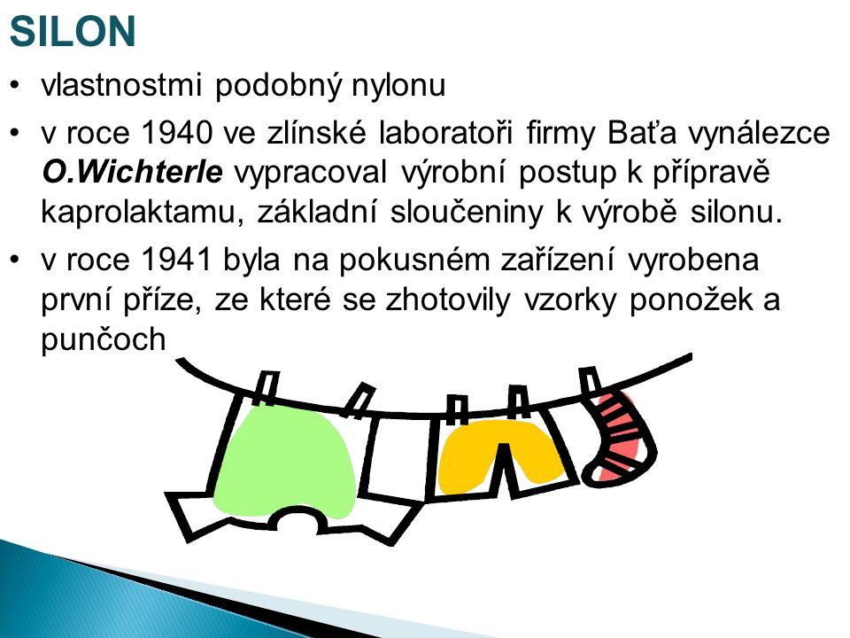 SILON vlastnostmi podobný nylonu v roce 1940 ve zlínské laboratoři firmy Baťa vynálezce O.Wichterle vypracoval výrobní postup k přípravě kaprolaktamu, základní sloučeniny k výrobě silonu.
