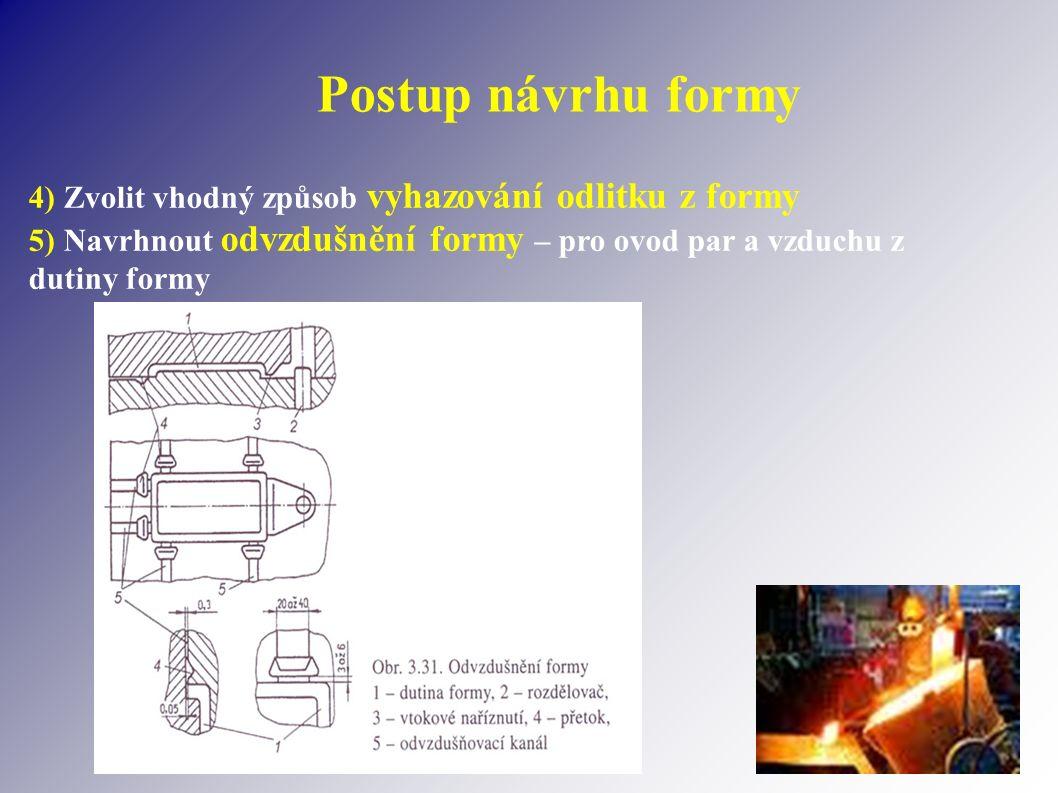 Postup návrhu formy 4) Zvolit vhodný způsob vyhazování odlitku z formy 5) Navrhnout odvzdušnění formy – pro ovod par a vzduchu z dutiny formy