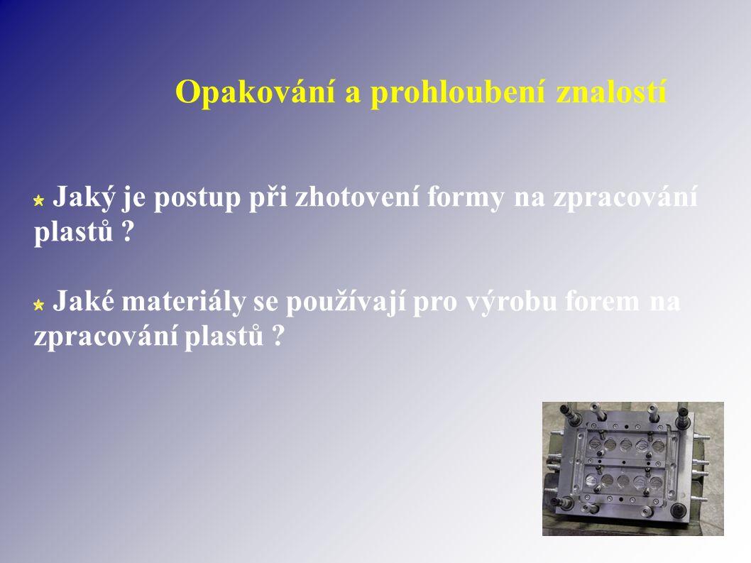 Opakování a prohloubení znalostí Jaký je postup při zhotovení formy na zpracování plastů .